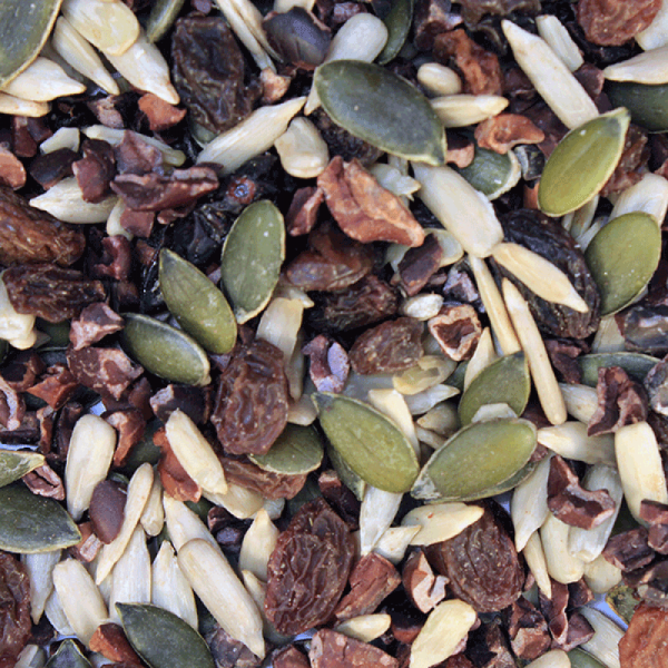 close up of trail mix with nuts and dried fruit